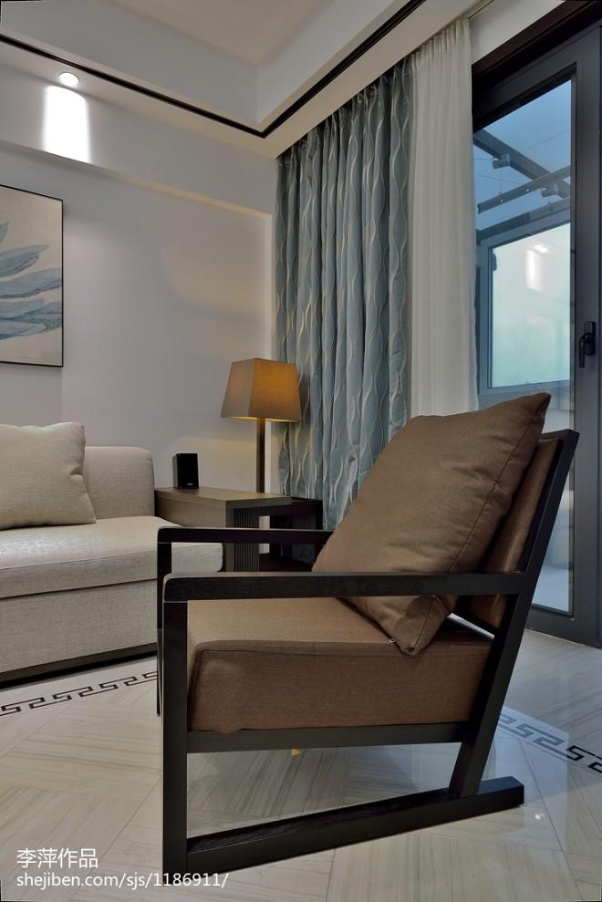 中式风格客厅窗帘装修效果图大全201