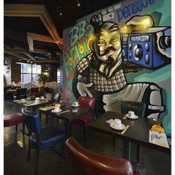 混搭风格烧烤店手绘墙装修设计