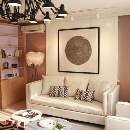 交换空间现代风格小户型客厅背景墙装修图