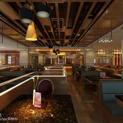 海鲜火锅餐厅火锅桌椅效果图