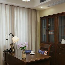美式风格书房书桌效果图