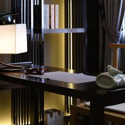 中式样板房书房书桌效果图