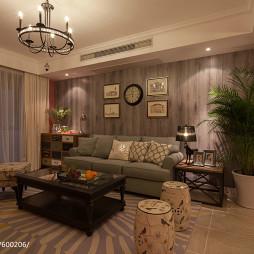 欧美复古风格客厅装修效果图大全2017图片