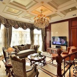 美式风格跃层建筑客厅装修效果图