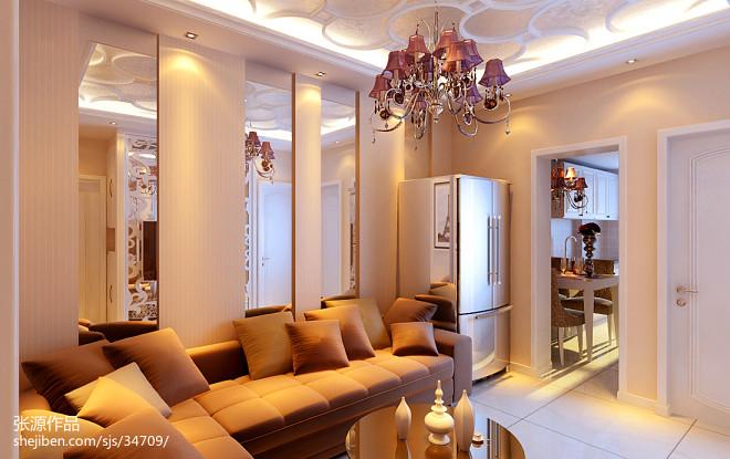 欧式小户型客厅吊顶空间创意设计效果图