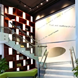 现代办公室楼梯玻璃栏杆装修效果图
