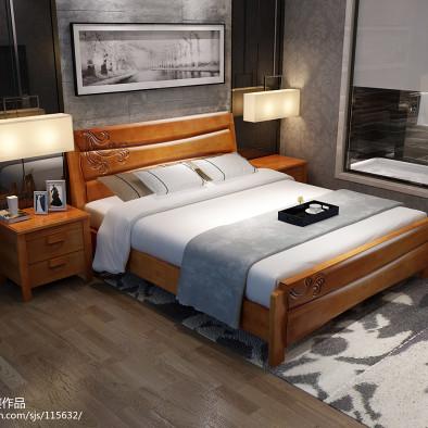 实木床系列,实木床效果图,实木家具3D效