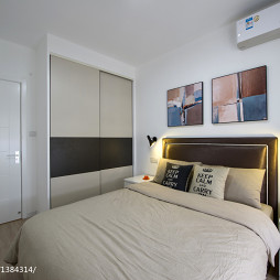 现代风格卧室背景墙装修实景图