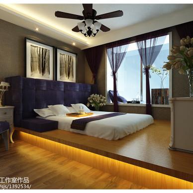 家装中式卧室水曲柳地板装修效果图