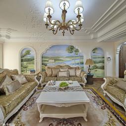 别墅精致欧式客厅吊顶设计