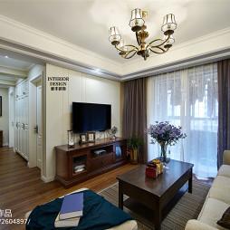 美式客厅窗帘装修图片