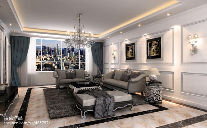 黑白分明高档沙发室内装饰效果图