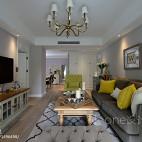 美式客厅绿色家具装饰效果图