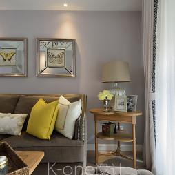 美式客厅白色窗帘装修图片