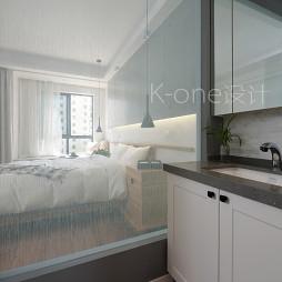 现代简约卧室白色窗帘图片