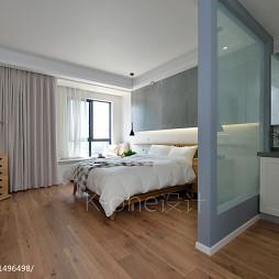 现代卧室玻璃隔断装修图