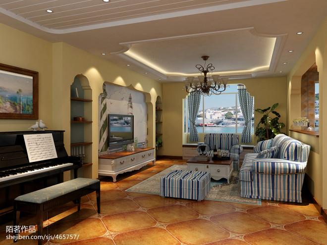 地中海风客厅装修室内地面铺装效果图