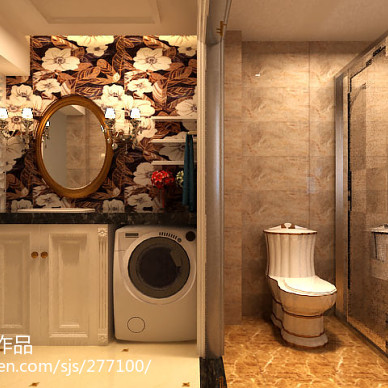 欧式卫浴整体浴柜效果图
