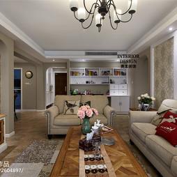 美式客厅花鸟图案电视背景墙设计