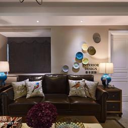 简约美式客厅仿皮沙发家居设计