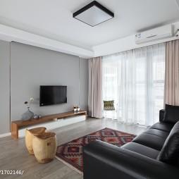 现代极简风格客厅电视背景墙装修图片