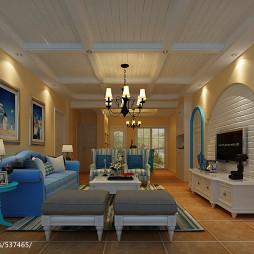 地中海风格客厅设计视听柜图片