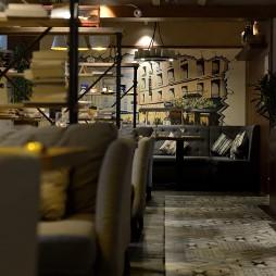 混搭咖啡厅手绘墙艺图片