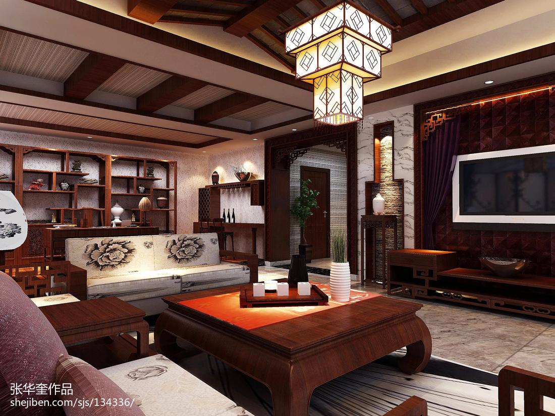 中式电视背景墙效果图_最新中式别墅客厅电视背景墙效果图 – 设计本装修效果图