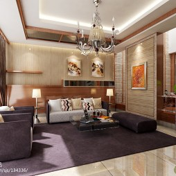 现代别墅客厅羊毛地毯效果图