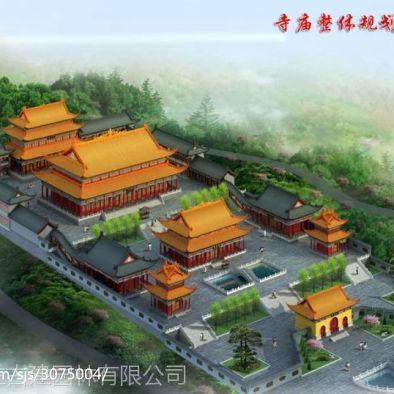 寺庙效果图,寺院鸟瞰图,寺院规划图,寺庙