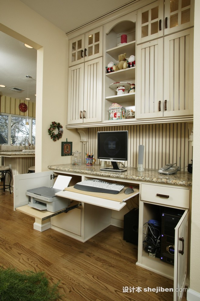 欧美风格家庭台式电脑桌 设计本装修效果图