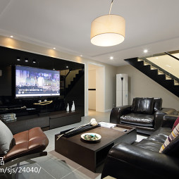 现代客厅简约风格电视墙背景效果图