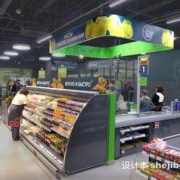 超市展示柜效果图图集