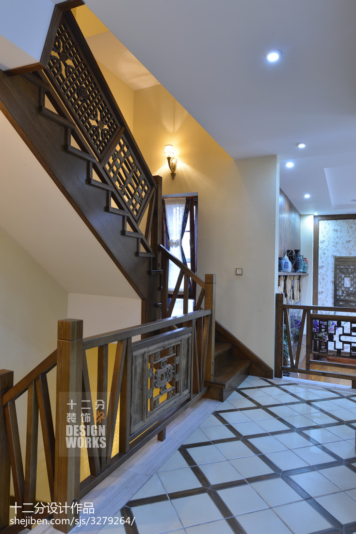 生活资讯_现代中式别墅楼梯装修设计效果图 – 设计本装修效果图