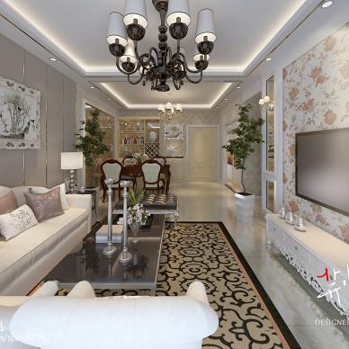 低调奢华欧式客厅墙纸效果图