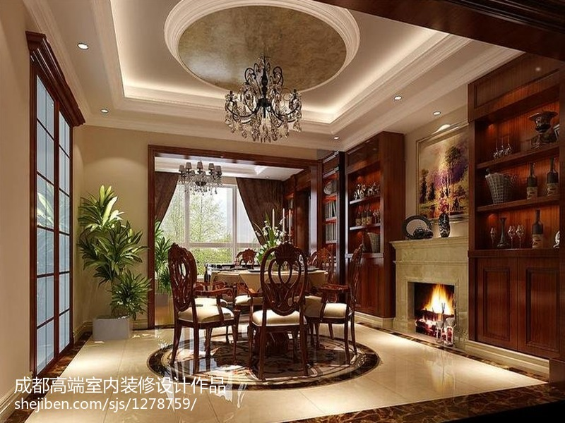 成都室内装修效果图_古典欧式客厅地面砖装修效果图 – 设计本装修效果图