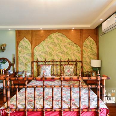 复式楼田园卧室背景墙装修效果图