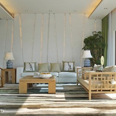 中式样板房客厅阳台装修效果图