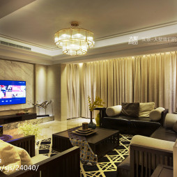 260平现代中式客厅吊顶装修设计