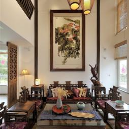 乡村中式别墅客厅背景墙设计