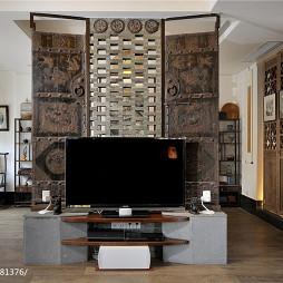 乡村中式别墅客厅电视背景墙设计