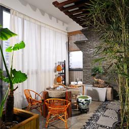 中式复式公寓入户花园设计效果图