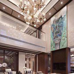 中式双拼别墅客厅吊顶设计效果图
