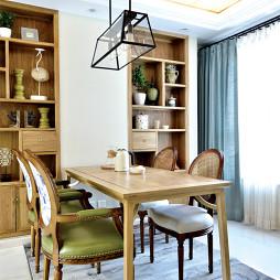 四居美式餐厅博古架设计效果图