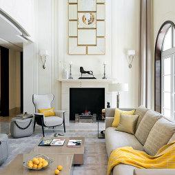 混搭风格别墅客厅背景墙装修效果图
