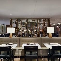 高级餐厅博古架隔断装修设计效果图