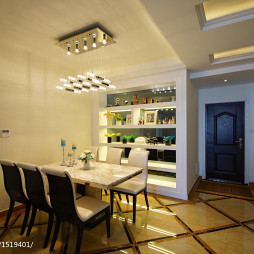 低调奢华新古典餐厅博古架装修设计