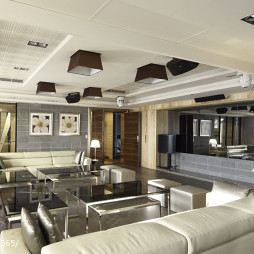 混搭风格宾馆客厅吊顶装修设计效果图