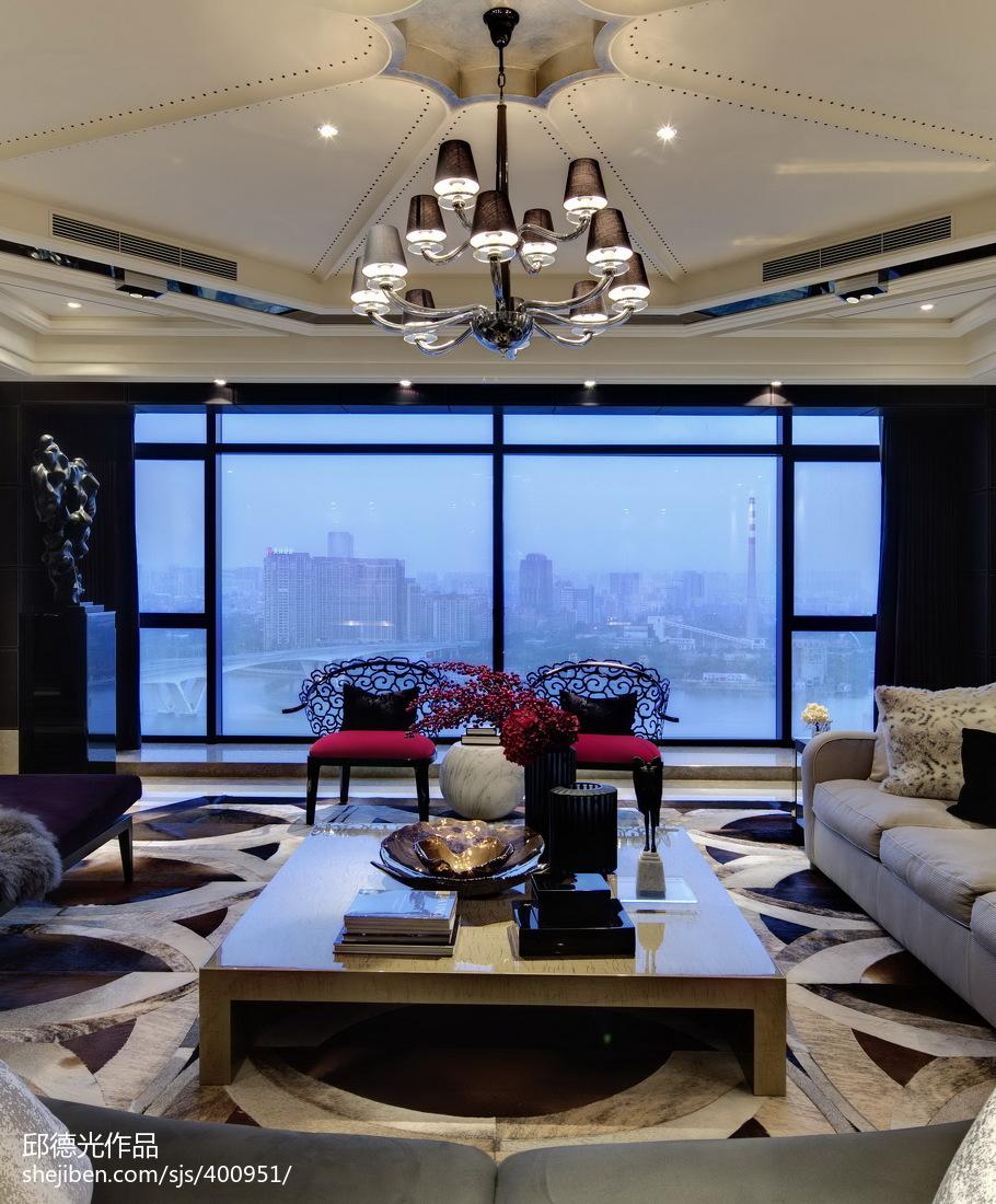 欧式新古典风格家具_混搭风格样板房客厅落地窗设计效果图 – 设计本装修效果图