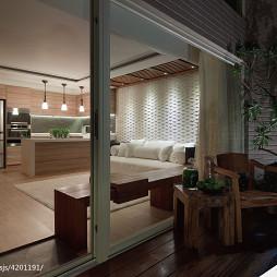 三居室混搭客厅阳台隔断设计效果图